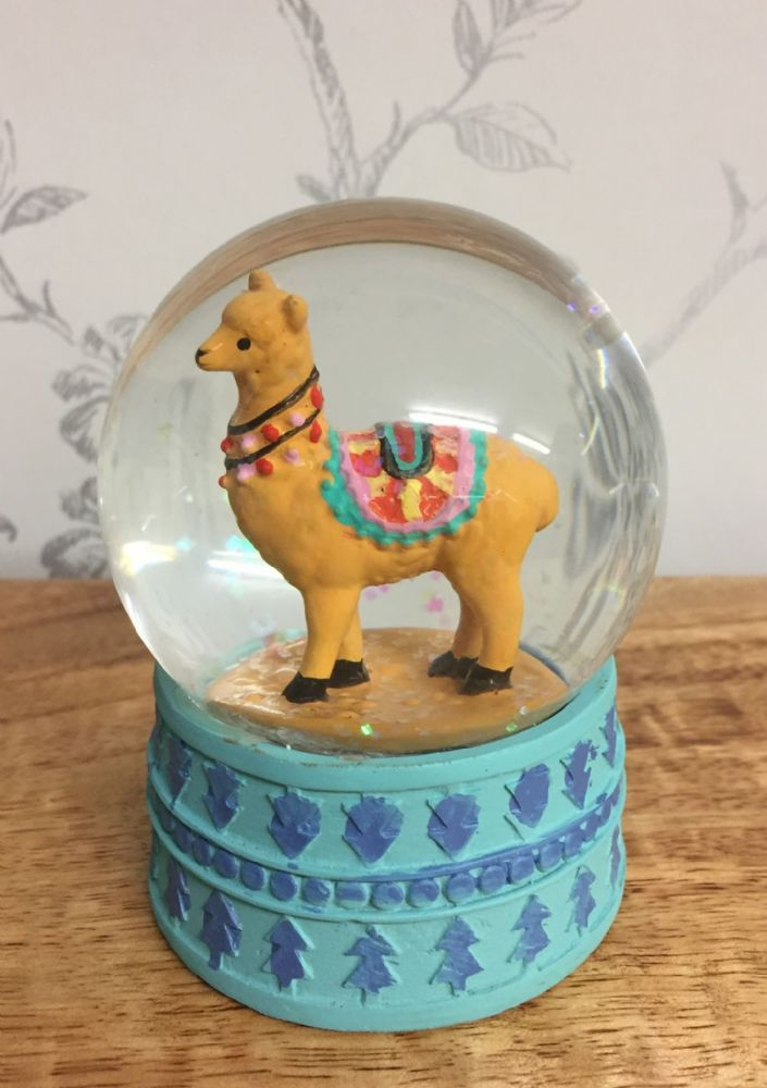 Alpaca Glitter Snow Globe Waterball with Blue Base ~ Brown
